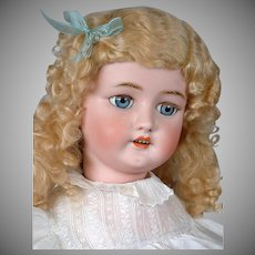 "*Huge* Cm Bergmann / Halbig 29.5"" Antique Bisque Doll in Wonderful Antique Costume"