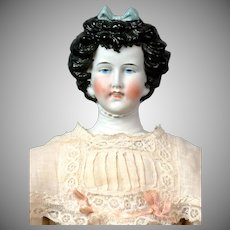 Exquisite Limbach Porzellanfabrik Antique Parian Lady with Detailed Plate in Antique Costume 18""
