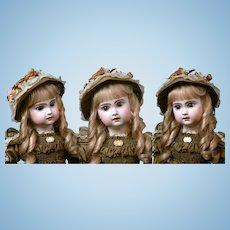 """24"""" Gorgeous Size 11 Brown-Eyed Jumeau Bebe Antique Doll with Pull Strings in Superb Silk Couturier Costume!"""