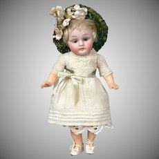"""*Little Angel* Antique Kestner 143 8"""" Child Doll in Antique Dress"""