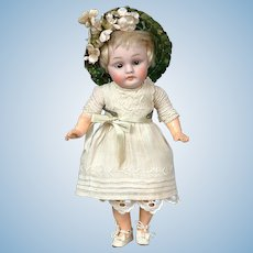"*Little Angel* Antique Kestner 143 8"" Child Doll in Antique Dress"