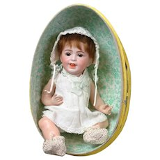 """10"""" Rare Adorable SFBJ 236 Laughing Jumeau French Baby  in Easter Egg circa 1920 (head circ. Is 7.5"""")"""