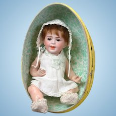 "10"" Rare Adorable SFBJ 236 Laughing Jumeau French Baby  in Easter Egg circa 1920 (head circ. Is 7.5"")"