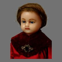 """19"""" Poured Wax Antique Doll in Antique Velvet and Silk Costume inset hair~"""