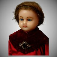 "19"" Wax Over Papier Mache Antique Doll in ~Original Velvet and Silk Costume~"