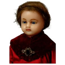 "19"" Poured Wax Antique Doll in Antique Velvet and Silk Costume inset hair~"