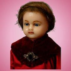 "19"" Wax Over Papier Mache Antique Doll in ~Original Velvet and Silk Costume~"