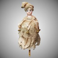 """All The Bells & Whistles!"" 12.5"" French Antique Marotte Doll by Francois Gaultier c. 1890 ~Original Costume, Plays 2 Melodies~"
