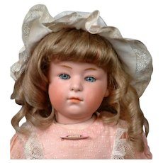 """14.5"""" Gebruder Heubach  6970 Pouty Child with Rare Pink Bisque Head, Closed Mouth & Sleep Eyes, Original Wig"""