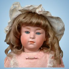 "14.5"" Gebruder Heubach  6970 Pouty Child with Rare Pink Bisque Head, Closed Mouth & Sleep Eyes, Original Wig"