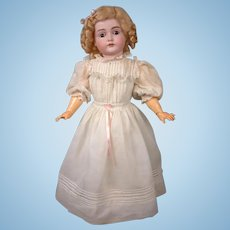 """Beautiful Kestner 167 23"""" on Near-Pristine Marked Body in Antique Dress -- A Classic!"""