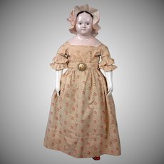 "Exceptionally Large French Papier Mache Doll 27.5"" circa 1858 In Fantastic All Original Clothes, Shoes and Socks"