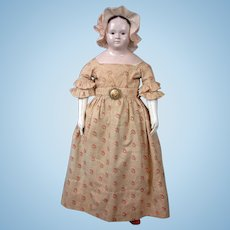 """Exceptionally Large French Papier Mache Doll 27.5"""" circa 1858 In Fantastic All Original Clothes, Shoes and Socks"""