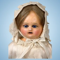 Incredible Motschman Antique Wax Doll with Sleep Eyes & Original Costume & Wig 17""