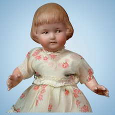 "Gebruder Character All-Bisque 9"" with Bob-cut Hair -- Coquette's Friend!"