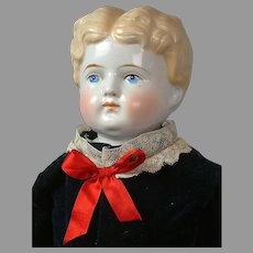 """Exceptional Antique China Boy with Rare Legs in Blue Velvet Costume 26"""""""