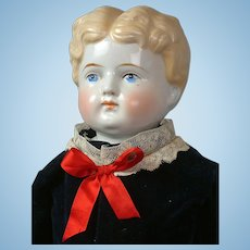 Exceptional Antique China Boy with Rare Legs in Blue Velvet Costume 26""