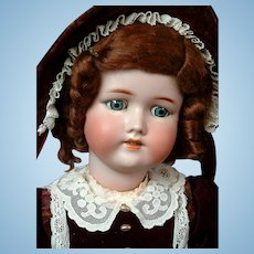"Darling CM Bergmann / Simon & Halbig Antique Bisque Doll in Velvet Ensemble 23"""