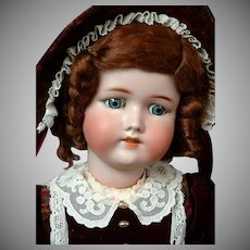 Darling CM Bergmann / Simon & Halbig Antique Bisque Doll in Velvet Ensemble 23""
