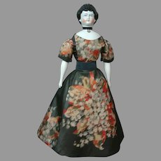 """18"""" Rare China Lady Doll With Red Tucked Comb & Swirl Updo C. 1870 In Antique Silk Dress"""