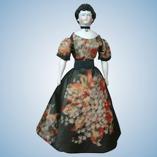 "18"" Rare China Lady Doll With Red Tucked Comb & Swirl Updo C. 1870 In Antique Silk Dress"