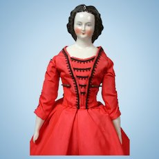 """Elegant China Lady with Fancy Rare Hairstyle 16"""" in Red Gown"""