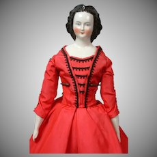 "Elegant China Lady with Fancy Rare Hairstyle 16"" in Red Gown"