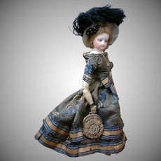 "Delectable ""Sweet Adeline"" 14.5"" All Antique Jumeau Poupee Peau Fashion Doll in Stunning Silk Gown!"