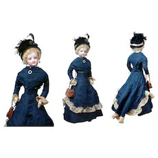 "*Demure* Jumeau Poupee Peau Fashion Lady ""Clare"" in Original Victorian walking Gown 15.5"""