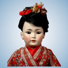 "21.5"" Antique Simon & Halbig Rare 1329 Oriental Child Doll in Great Costume Representing a Japanese Child! C 1890-1900"