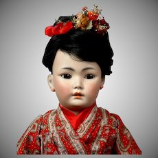 "21.5"" Antique Simon & Halbig Rare 1329 Oriental Child Doll in Great Costume Representing a Japanese Child! C 1890-1900"