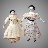 "Pair of Petite Antique China Dollhouse Dolls 7.5"" and 8.5"""