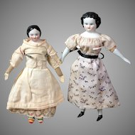 """Pair of Petite Antique China Dollhouse Dolls 7.5"""" and 8.5"""""""