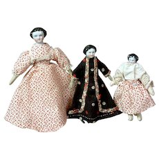 """Trio of Tiny Dollhouse Antique China Dolls 4.25"""", 3.75"""", and 5.0"""""""