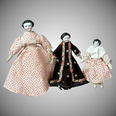 "Trio of Tiny Dollhouse Antique China Dolls 4.25"", 3.75"", and 5.0"""