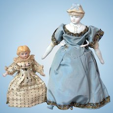 "Pair of Darling Antique Parian Dollhouse Dolls 4.5"" amd 8.0"""