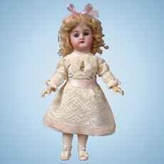 "Petite 10.5"" Handwerck Halbig Antique Bisque Doll in White Lace"