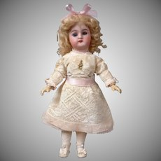 "Petite 10.5"" Handwerck Halbig Antique Bisque Doll in White Lace"