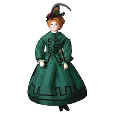 """Rare and Exquisite 18"""" French Gesland Poupee in Stunning Green Silk Victorian Walking Suit; """"Sweet Lucretia"""""""