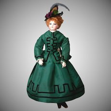 "Rare and Exquisite 18"" French Gesland Poupee in Stunning Green Silk Victorian Walking Suit; ""Sweet Lucretia"""