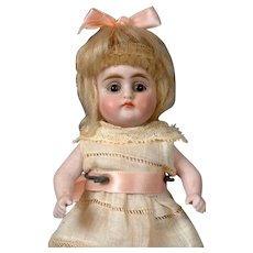 "Petite 6"" Antique All-Bisque Doll with Glass Eyes & Molded Shoes"