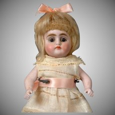 """Petite 6"""" Antique All-Bisque Doll with Glass Eyes & Molded Shoes"""