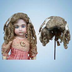 "RARE Antique Mohair Hand-Tied Wig with Original Silk Cap 12.5"""