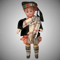 """Adorable 5.25"""" Bisque Antique Cabinet Doll in Scottish Original Costume"""