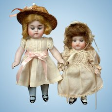 """Pair of All-Bisque Kestner 150 Cabinet-Sized Dolls 5.5"""" and 6"""""""