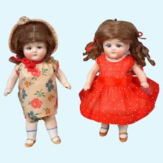 "Adorable All-Bisque Pair of German Antique Dolls 6.25"" & 6.25"""