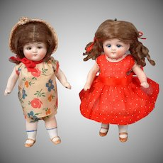 """Adorable All-Bisque Pair of German Antique Dolls 6.25"""" & 6.25"""""""
