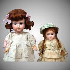 """Precious Pair of German Antique Dolls, 11.5"""" Armand Marseilles, 9"""" Ernst Heubach – So Cute!"""