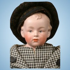 Charming Gebruder Heubach Character Pouty Boy with Intaglio Eyes 17""