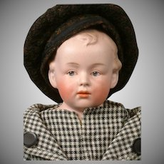 """Charming Gebruder Heubach Character Pouty Boy with Intaglio Eyes 17"""""""